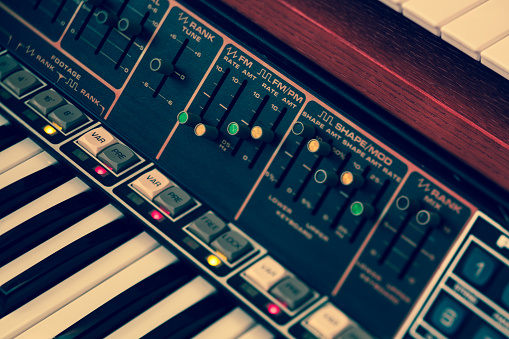 Vintage synthesizer keyboard musical instrument
