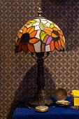 Vintage table lamp and pocket watch