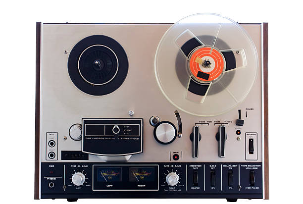 vintage tape player, cut out on white background stock photo