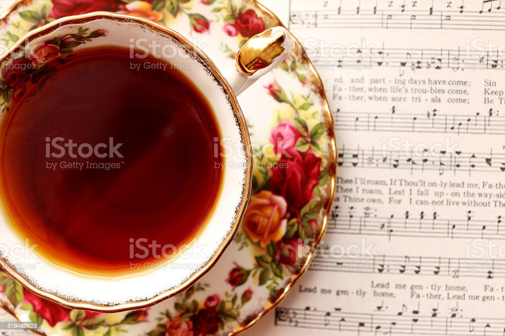 Vintage Tea Cup with Music stock photo