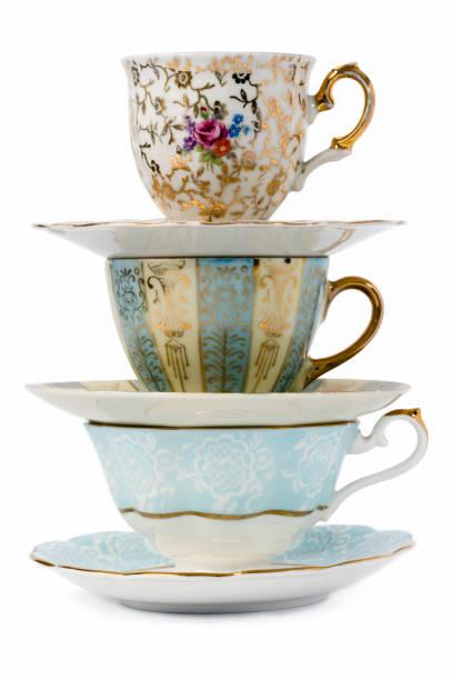 vintage thee bekers - theekop stockfoto's en -beelden