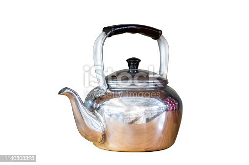 Classic , vintage tea pot kettle stove top isolated on white background with pen tool clipping path