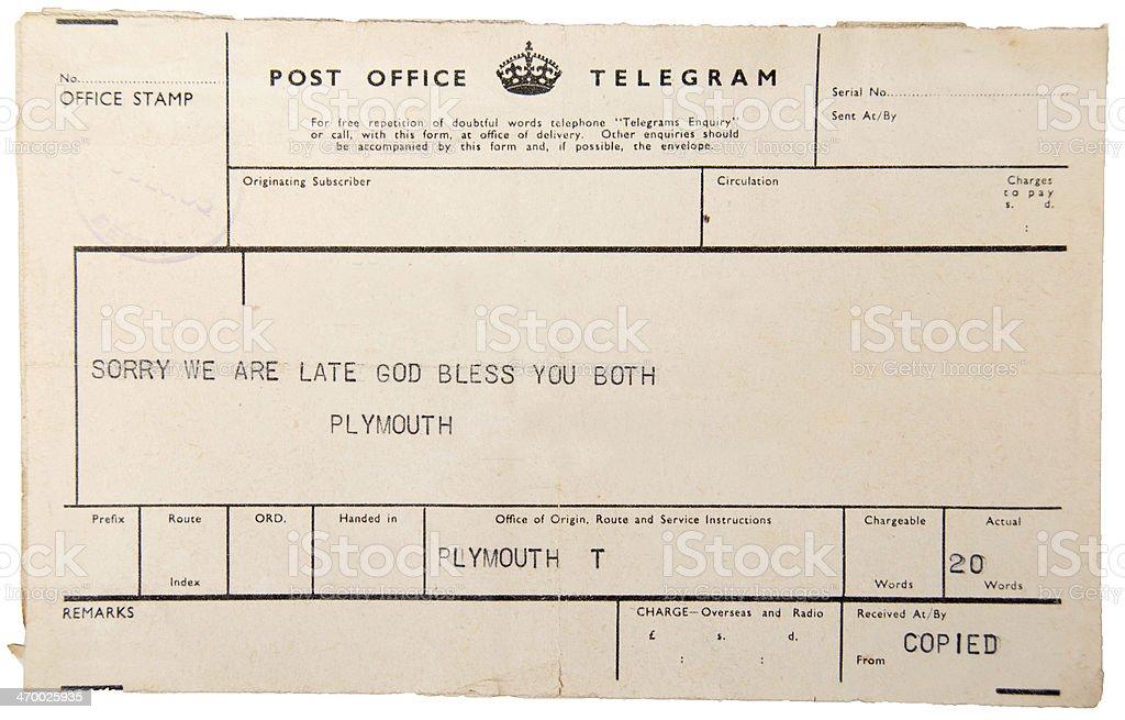 Vintage Telegram stock photo