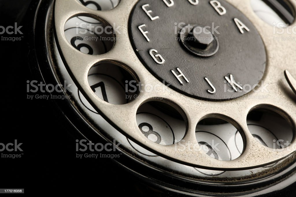 vintage telephone detail stock photo