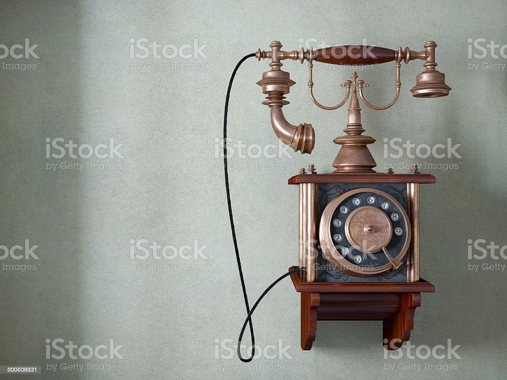 Telefone antigo na parede velha - foto de acervo