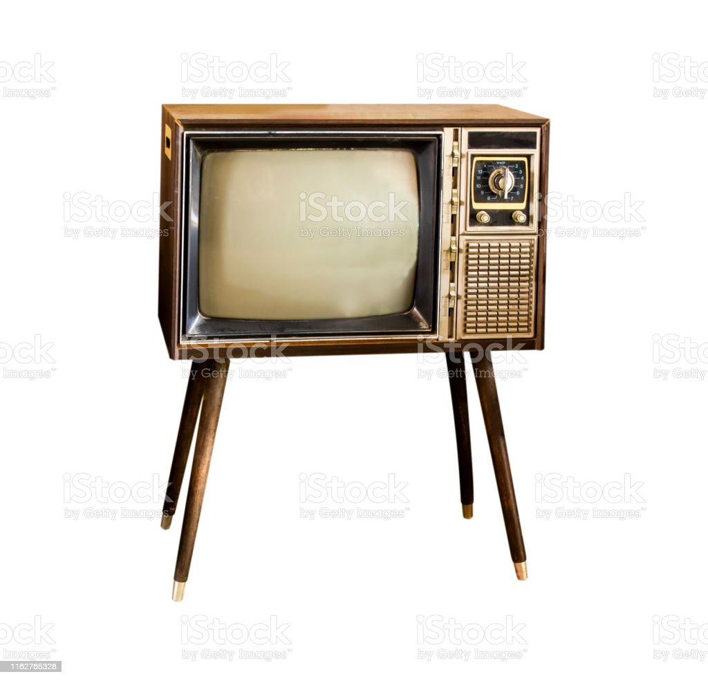Vintage television, Antique TV, Retro technology, Old TV isolate on...