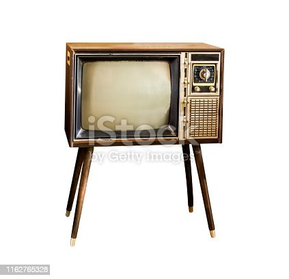 istock Vintage television, Antique TV, Retro technology, Old TV isolate on white background 1162765328