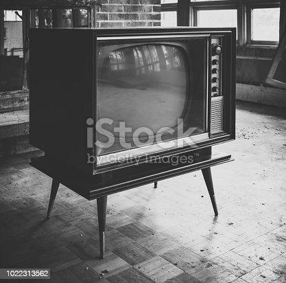 Vintage television inside an abandoned home.