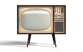 A concept vintage tv from the seventies made of plastic chrome and wood on an isolated white studio background - 3D render