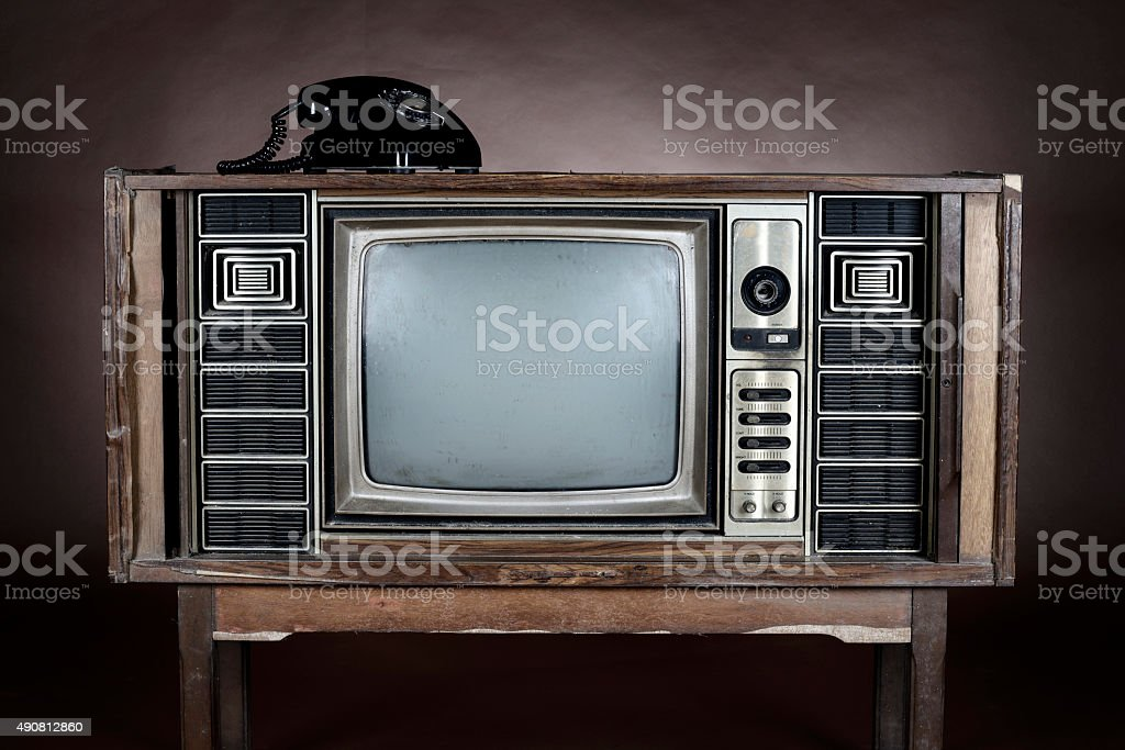vintage television stock photo