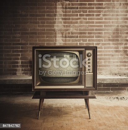 Vintage television inside an abandoned home.