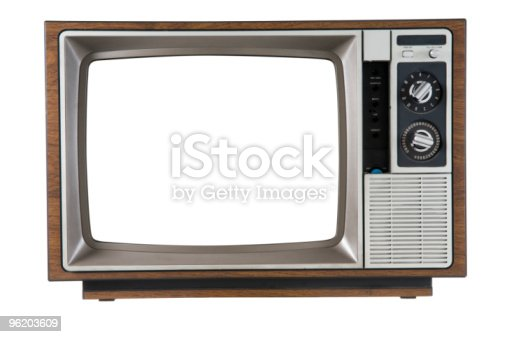 Old Television on white. Includes Clipping Path.