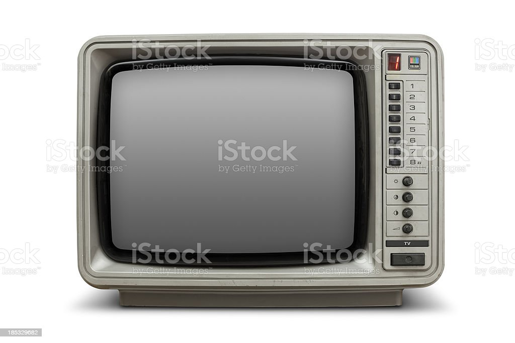 Vintage television with blank screen royalty-free stock photo