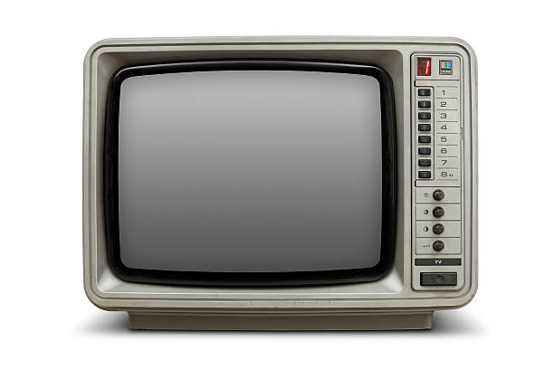 Vintage television with blank screen stock photo