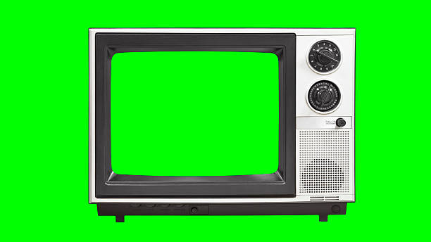 Vintage Television with Chroma Green Screen and Background stock photo