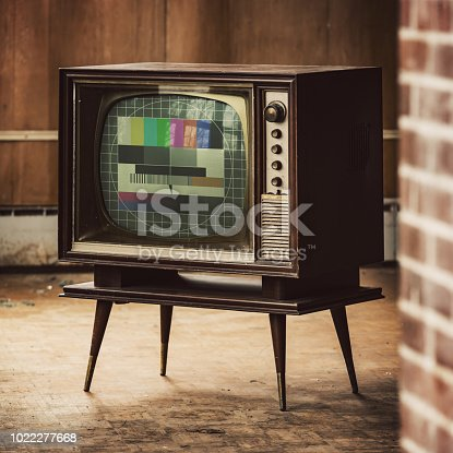 Vintage television with a test pattern displayed.