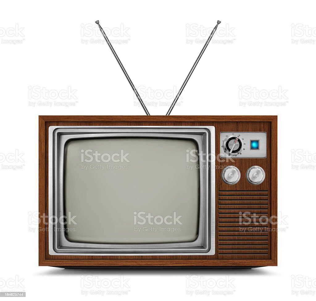 "Vintage television with wooden frame and blank screen ""Wooden vintage TV with blank screen. TV has a wooden body, metallic buttons and antenna. Isolated on white background."" Analog Stock Photo"