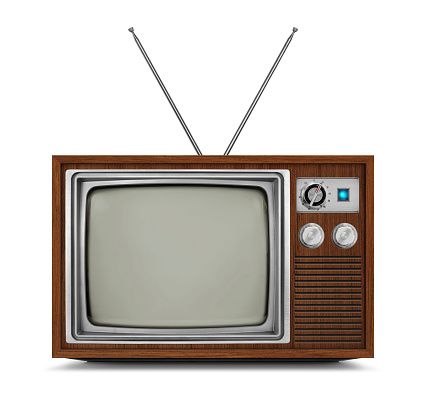 Vintage Television With Wooden Frame And Blank Screen Stock Photo - Download Image Now