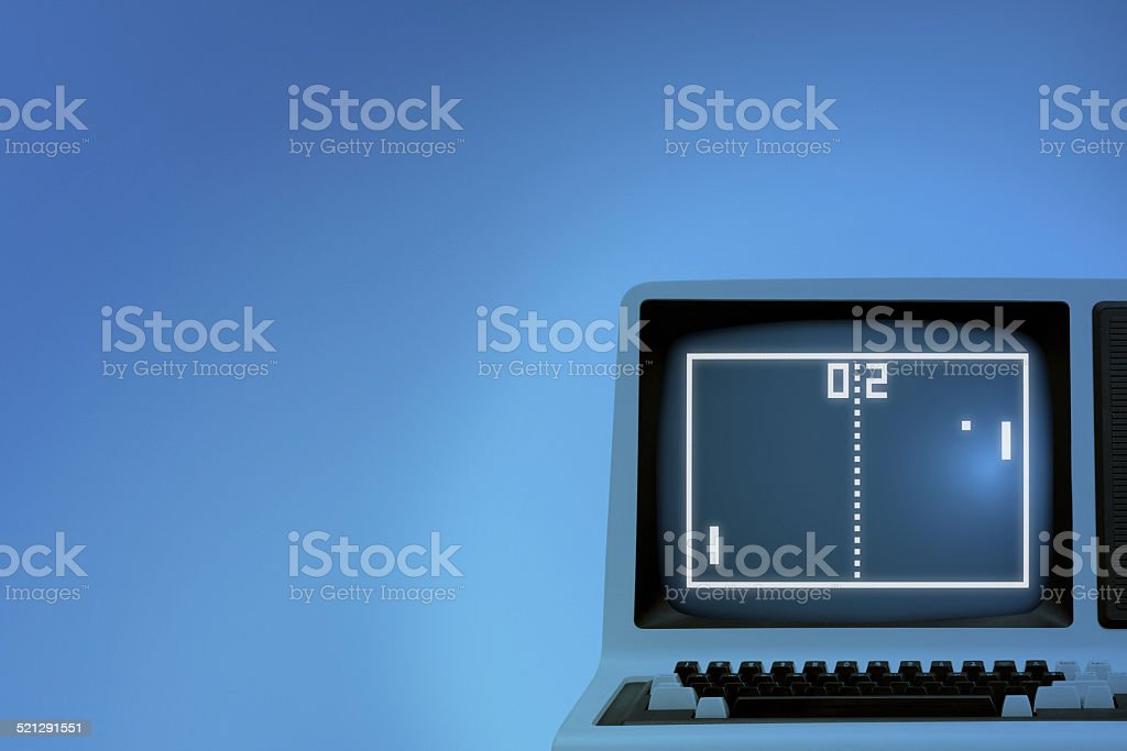 Vintage tennis videogame on old computer monitor stock photo