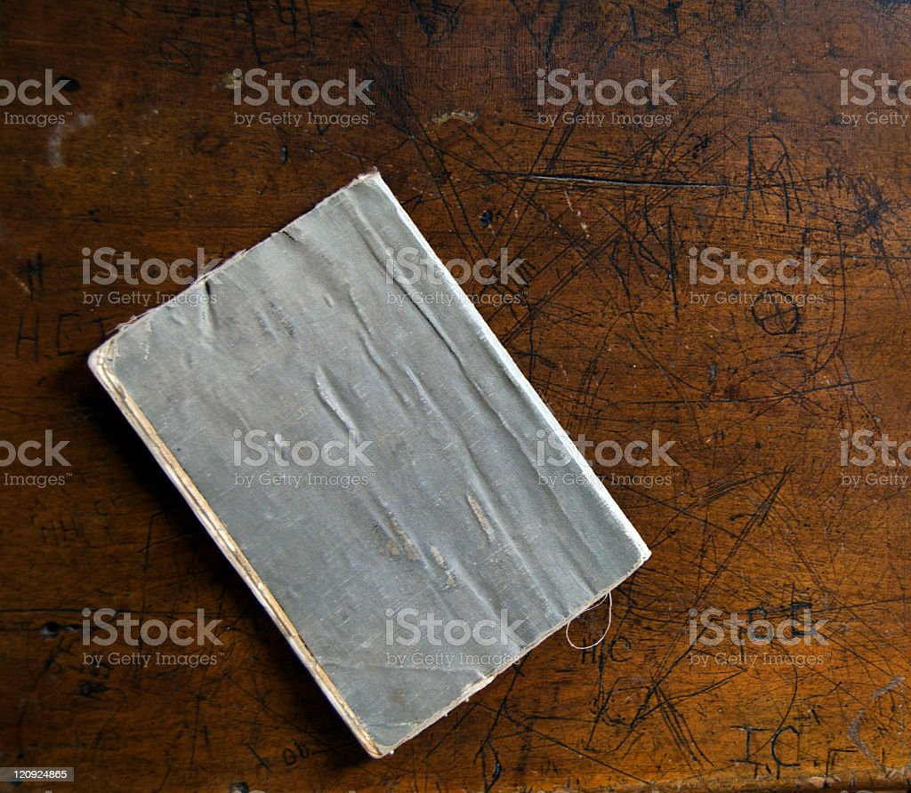 Vintage Text Book and Desk royalty-free stock photo