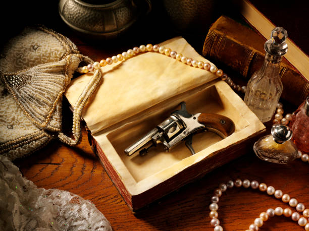 vintage themed image - murder mystery stock photos and pictures