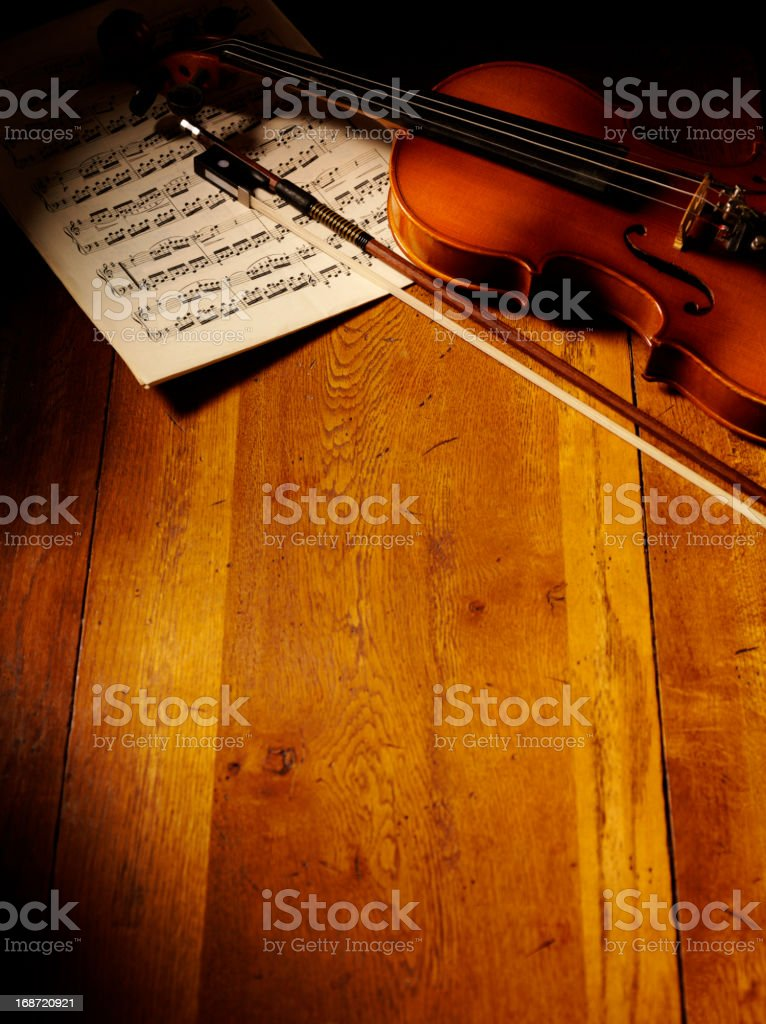Vintage Themed Violin and Sheet Music stock photo