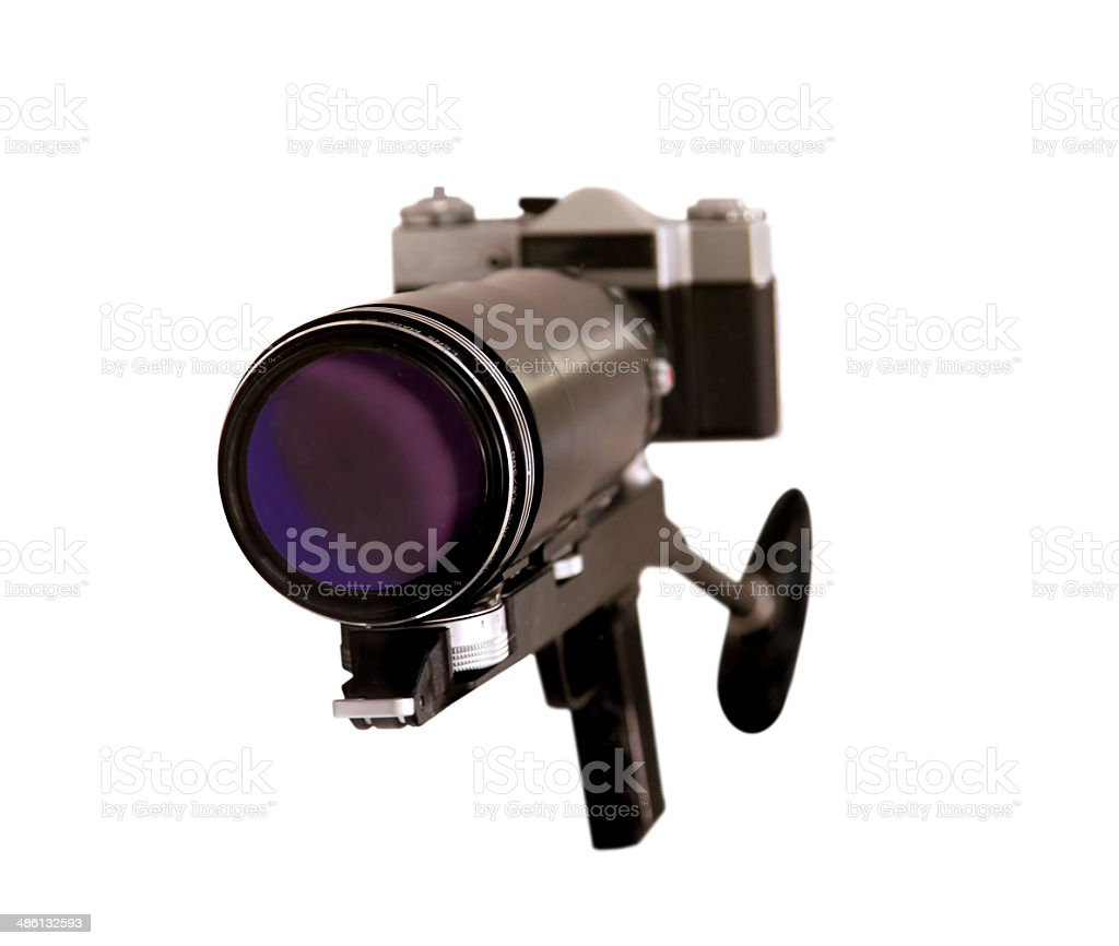 Vintage Things. Camera with Telephoto royalty-free stock photo