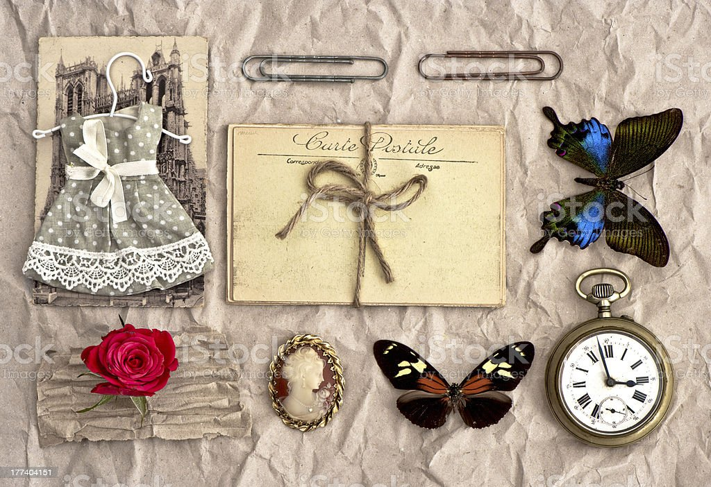 vintage things. nostalgic scrap booking background stock photo