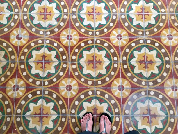 Vintage tiles and feet view