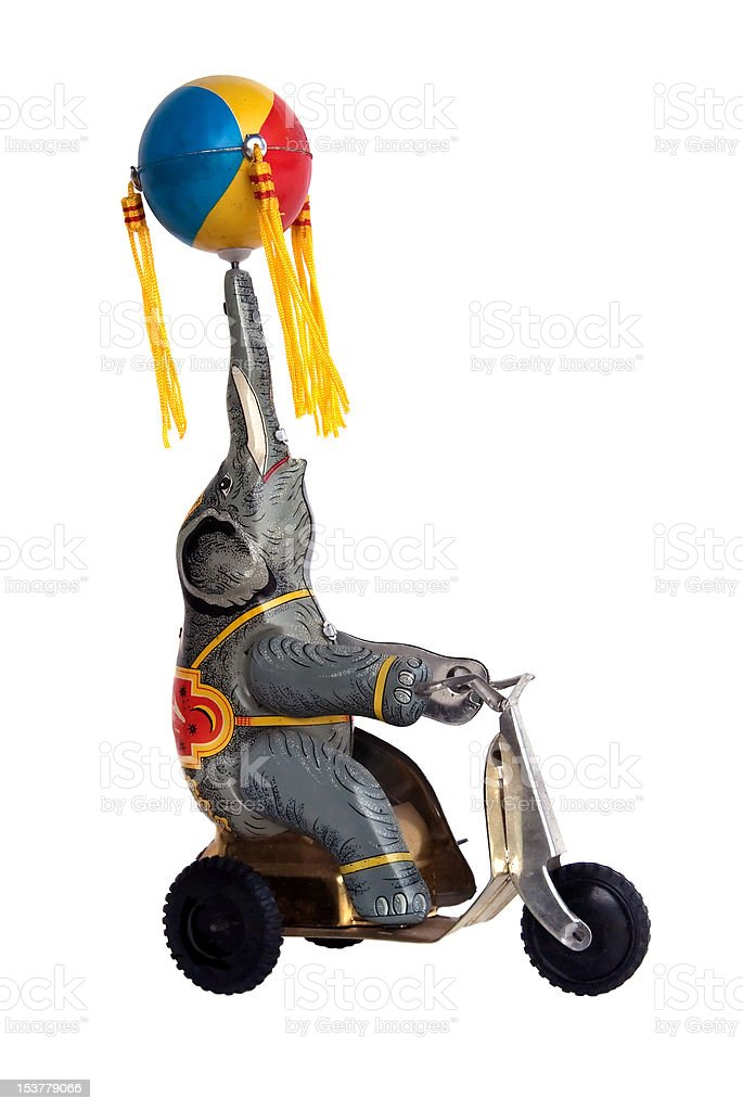Vintage Tin Elephant Toy stock photo