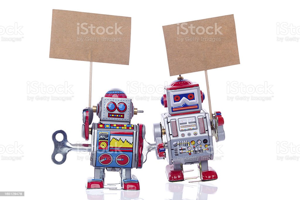 Vintage tin robots stock photo