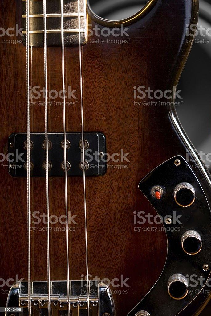 Vintage TobaccoBurst Bass Guitar Detail royalty-free stock photo