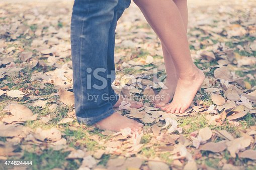 536952169 istock photo vintage tone of : Male and female leg with barefoot 474624444