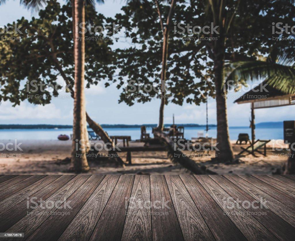 Tono Terraza : Fotografía de vintage tono la terraza de madera y la playa de
