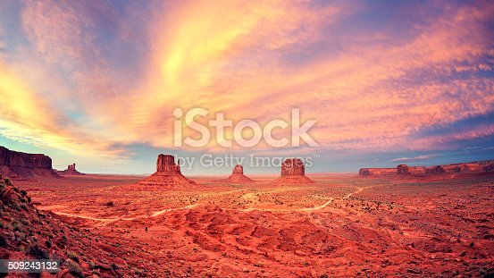 Vintage toned Monument Valley after sunset, USA.