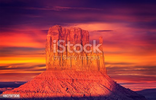 Vintage toned photo of Monument Valley at sunset, USA.
