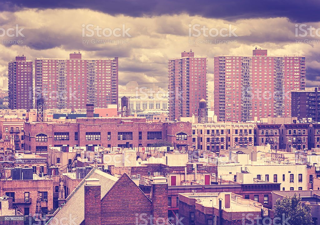 Vintage toned photo of New York residential buildings. stock photo
