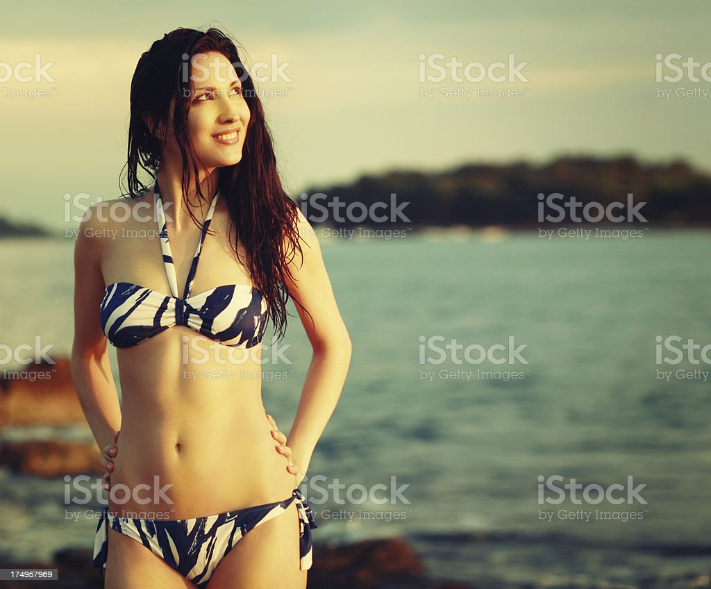 Vintage toned portrait on the beach royalty-free stock photo