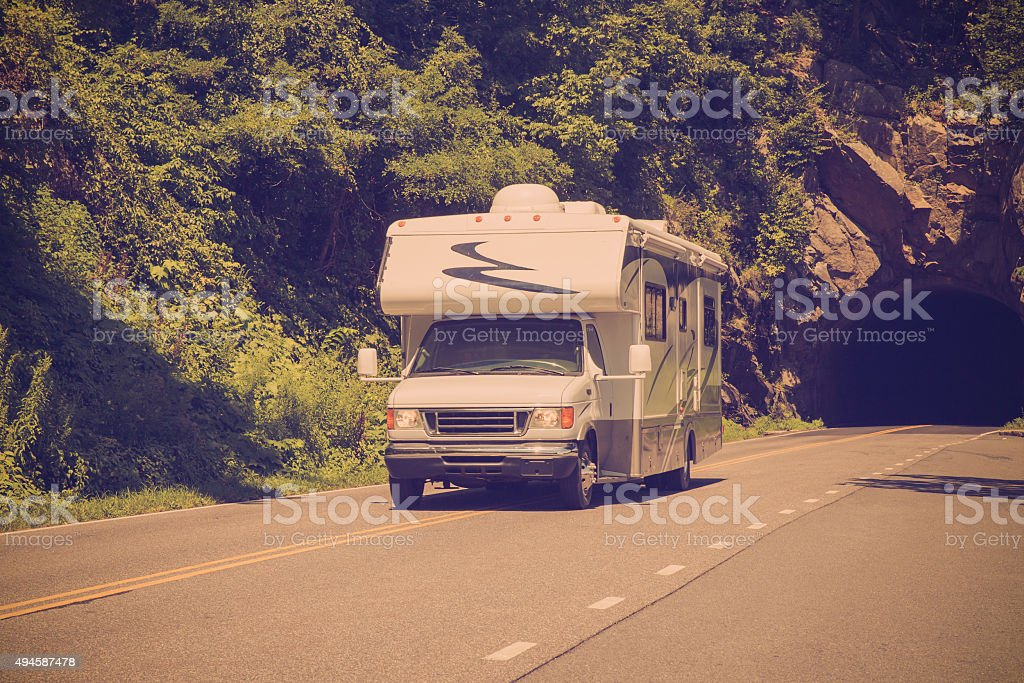 Vintage toned Recreation Vehicle stock photo