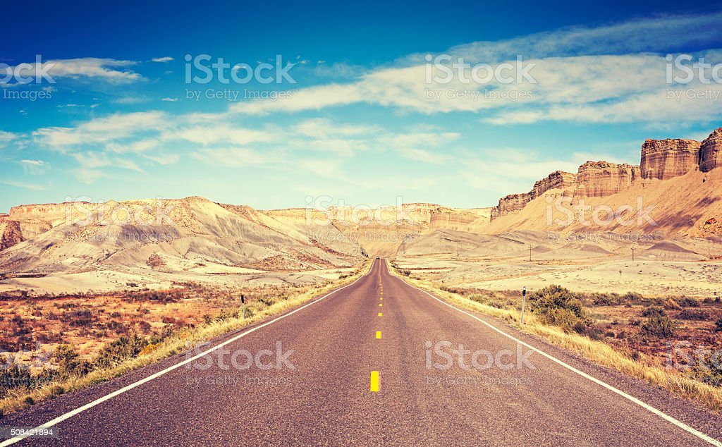 Vintage toned scenic road, Utah, USA. stock photo