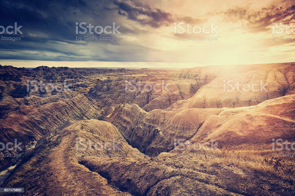 Vintage toned scenic sunset over Badlands National Park. stock photo