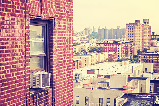 Vintage Toned Window With Air Conditioner Harlem Usa Stock Photo - Download Image Now