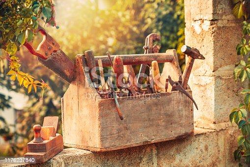 Vintage tool box at sunset.