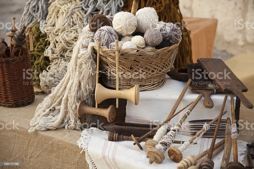 Vintage tools and natural wool stock photo
