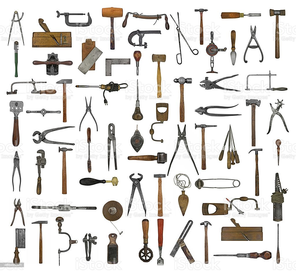 vintage tools collage stock photo