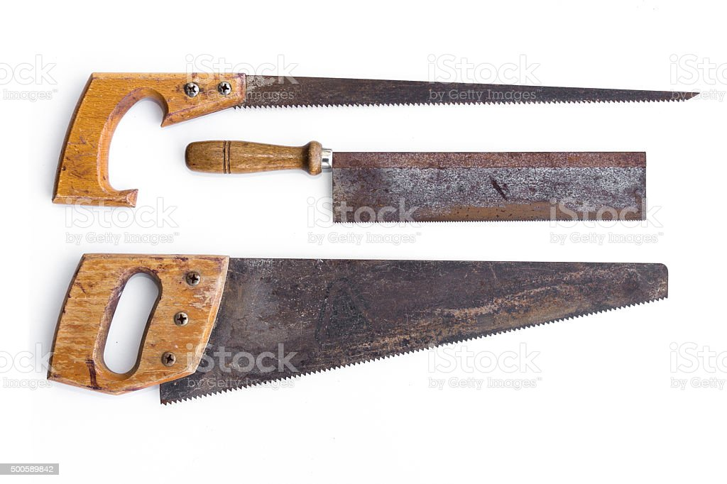 vintage tools - set old saws, handsaws isolated on white stock photo
