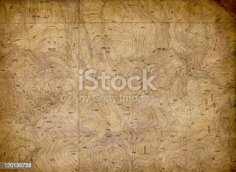 An old, faded topographical map. Perfect expedition and travel background. Extra Large size with great details
