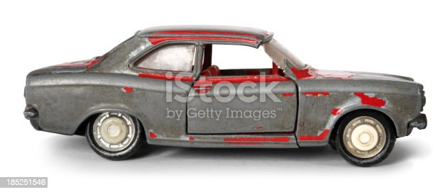 The image of an old metal toy car with clipping path.