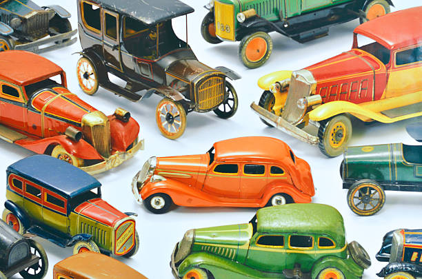 vintage toy cars isolated on white stock photo