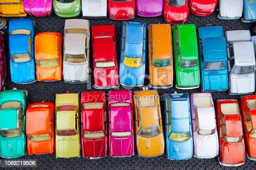 colorful rows of old cars